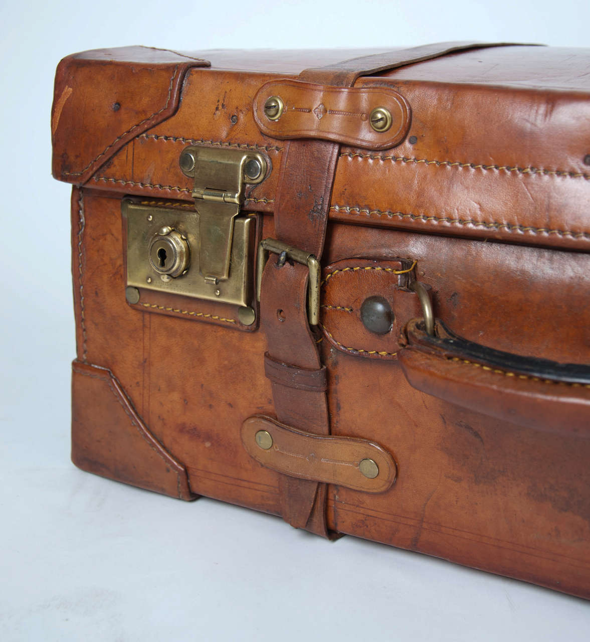 19th C. Leather SUITCASE, English, Very High Quality 3