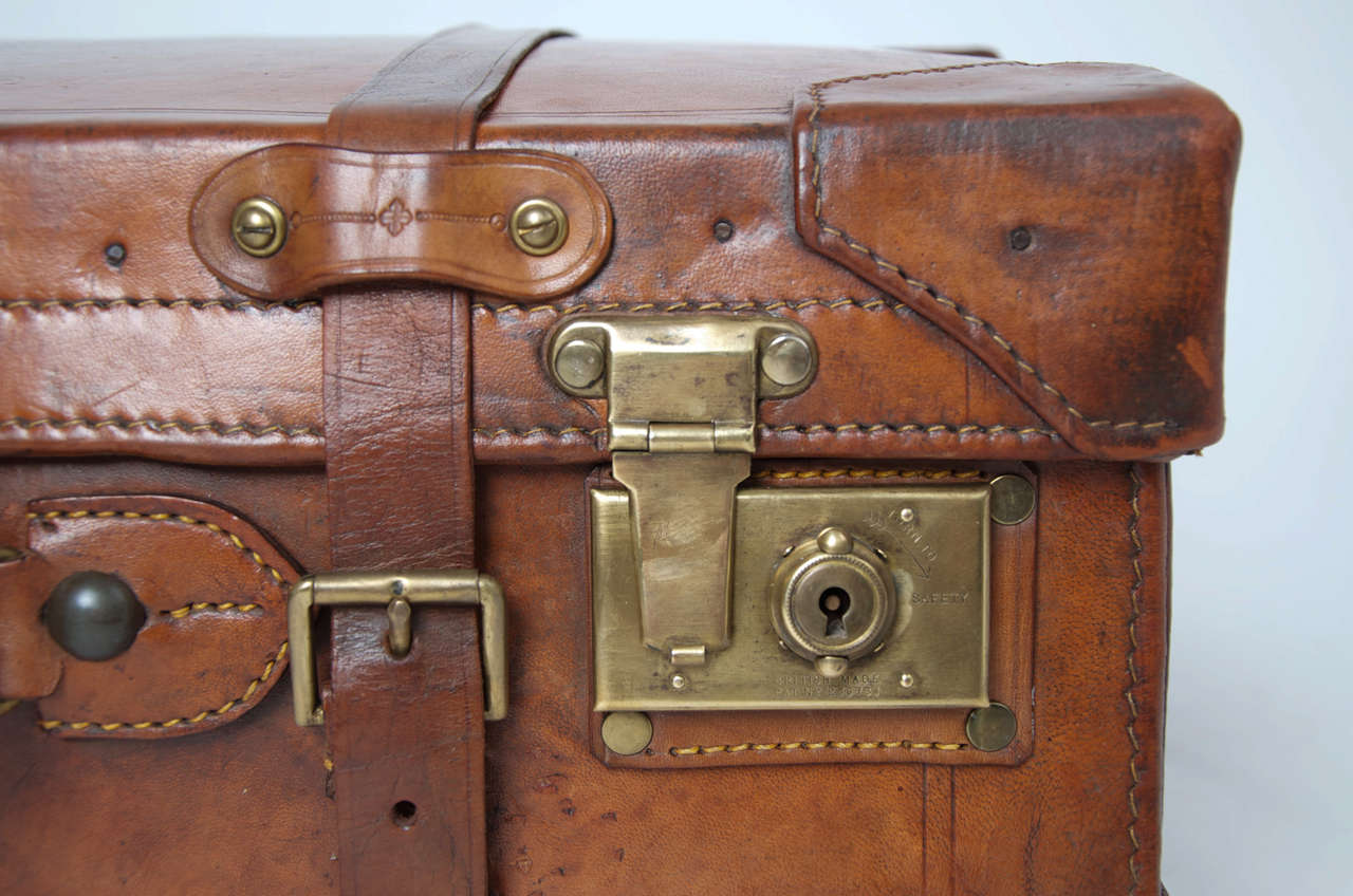 19th C. Leather SUITCASE, English, Very High Quality 4