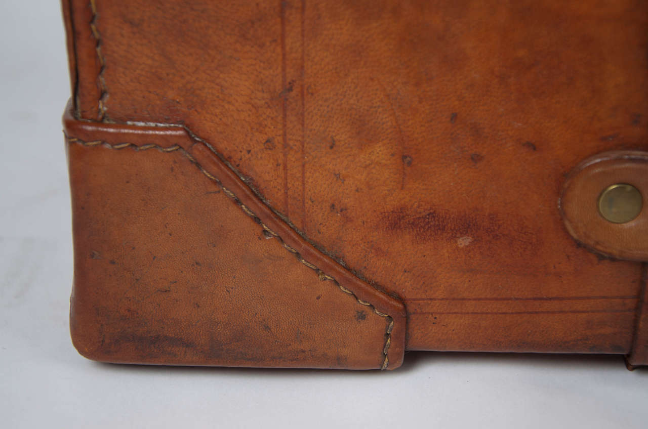 19th C. Leather SUITCASE, English, Very High Quality 5