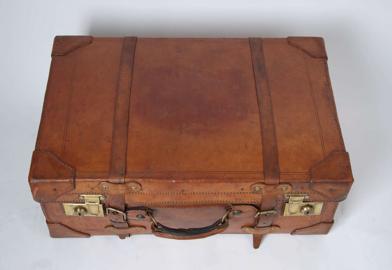 19th C. Leather SUITCASE, English, Very High Quality 6