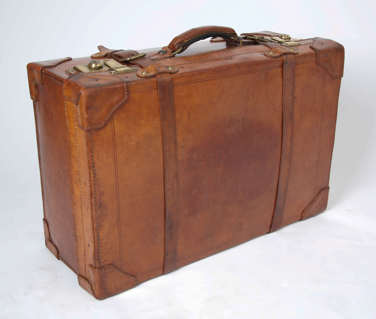 5a47cd2d5 Brass 19th C. Leather SUITCASE, English, Very High Quality For Sale