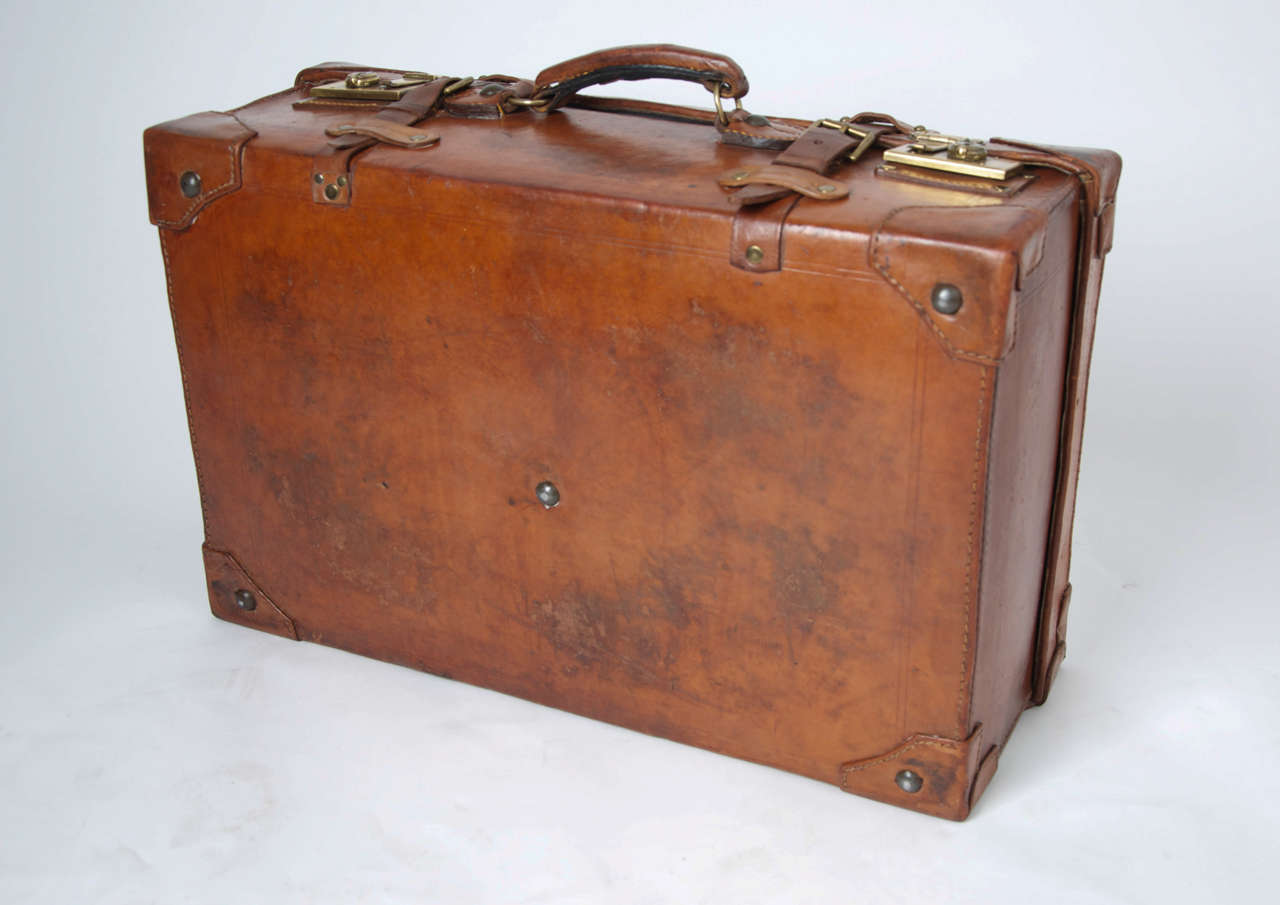19th C. Leather SUITCASE, English, Very High Quality 8