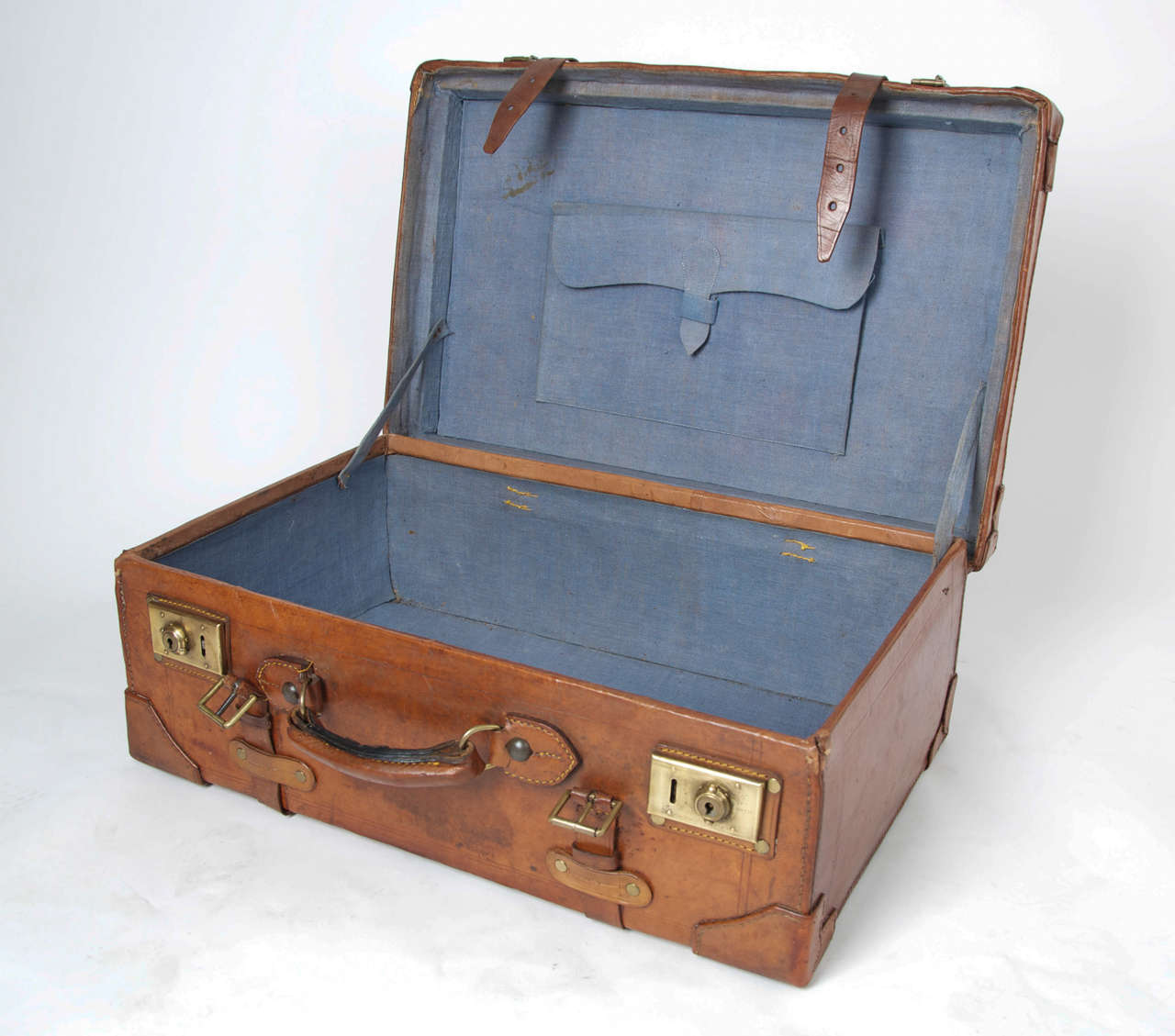 19th C. Leather SUITCASE, English, Very High Quality 9