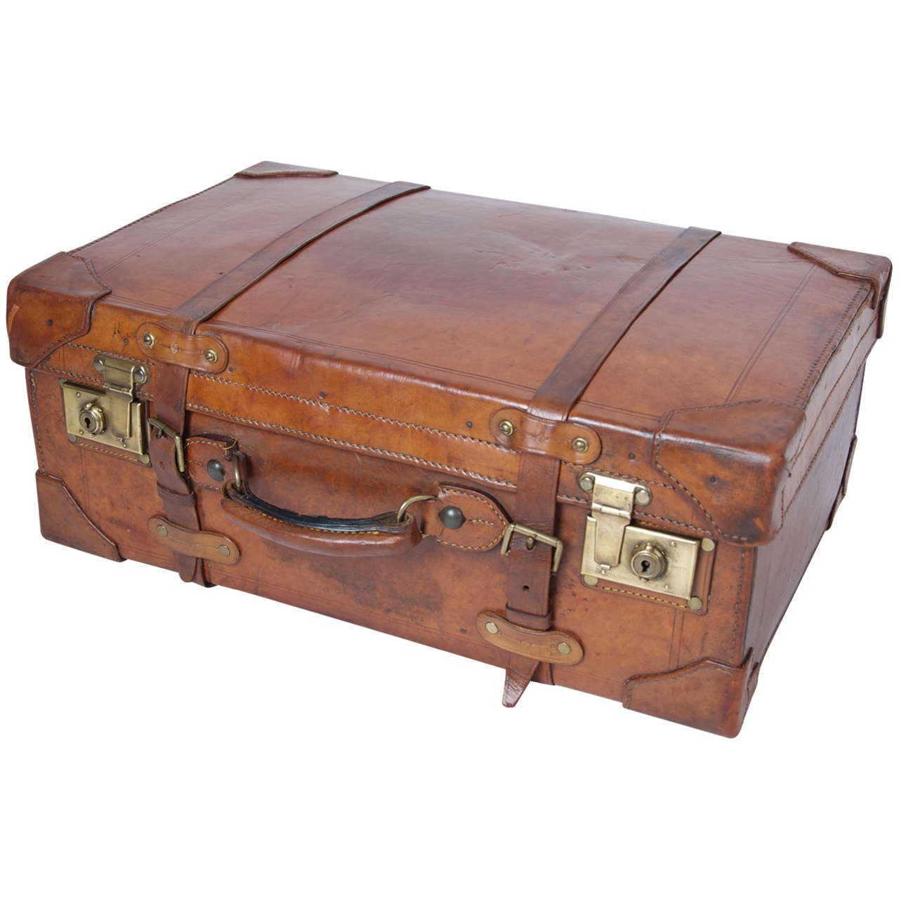 19th C. Leather SUITCASE, English, Very High Quality at 1stdibs