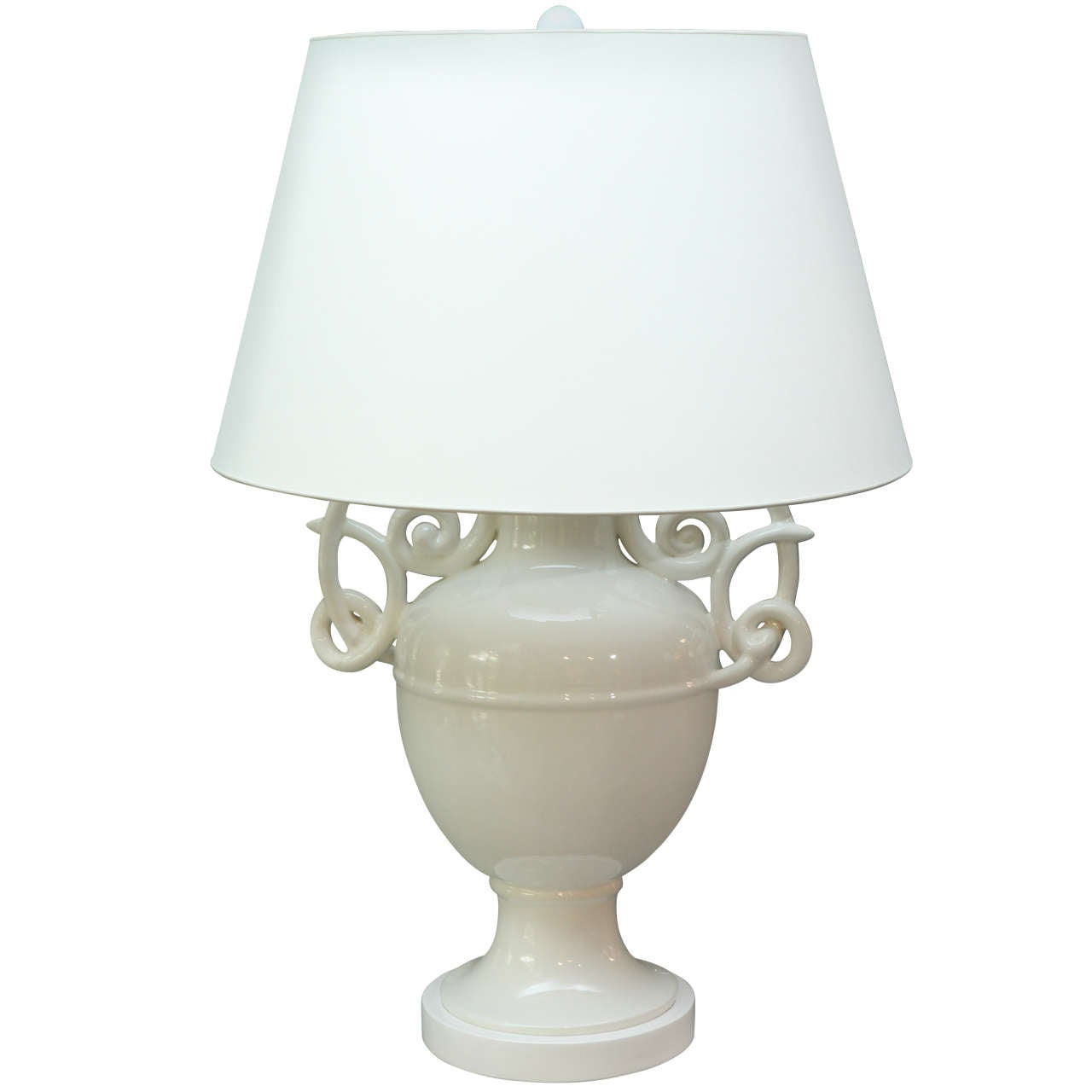 white ceramic giacometti attributed table lamp c 1950 at 1stdibs. Black Bedroom Furniture Sets. Home Design Ideas