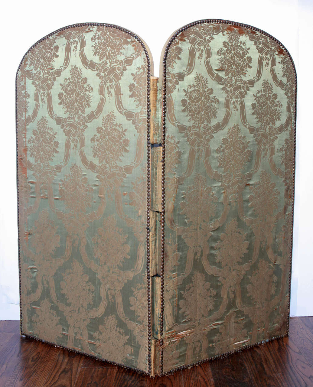 Silk 20th Century French Two Panel Screen For Sale
