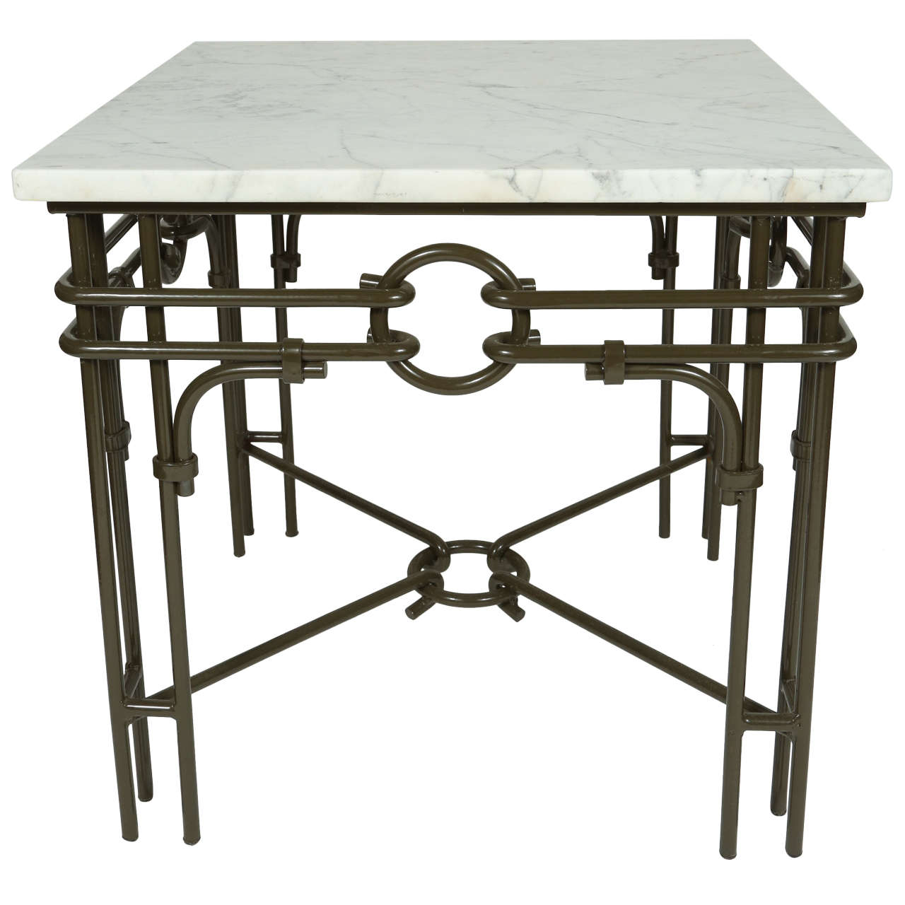 Iron Side Table ~ Vintage iron and marble side table for sale at stdibs