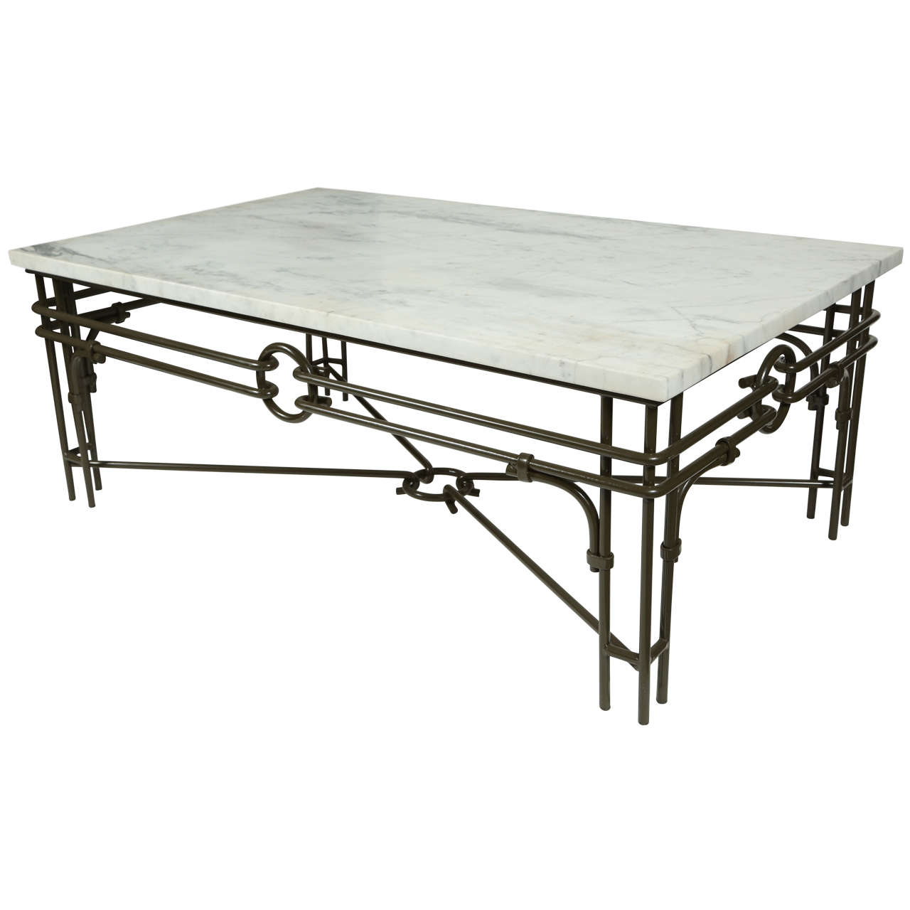 Vintage iron and marble coffee table at 1stdibs for Stone and iron coffee table