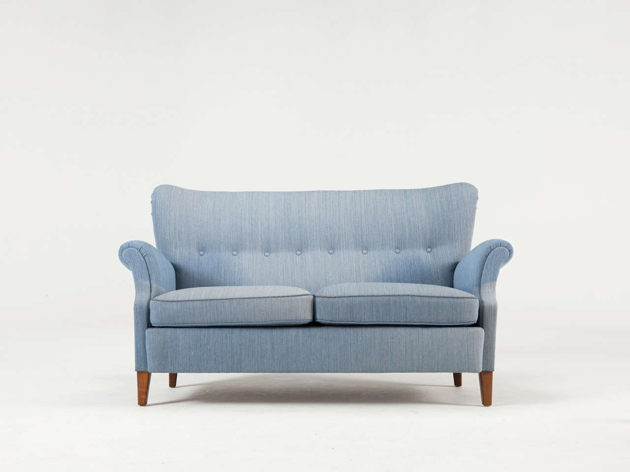 Scandinavian Modern Swedish Blue Two-Seat Sofa, 1950s For Sale