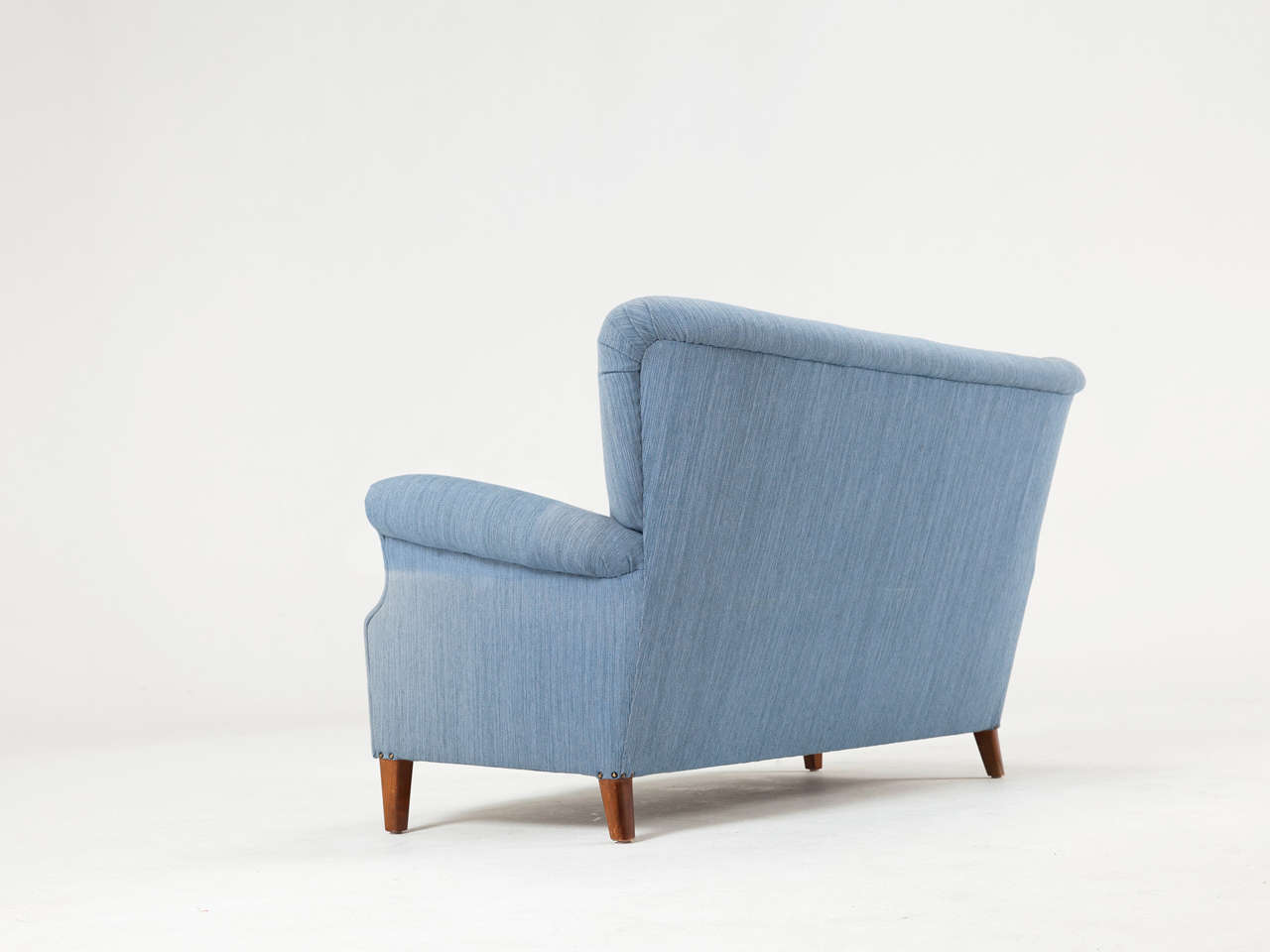 Mid-20th Century Swedish Blue Two-Seat Sofa, 1950s For Sale