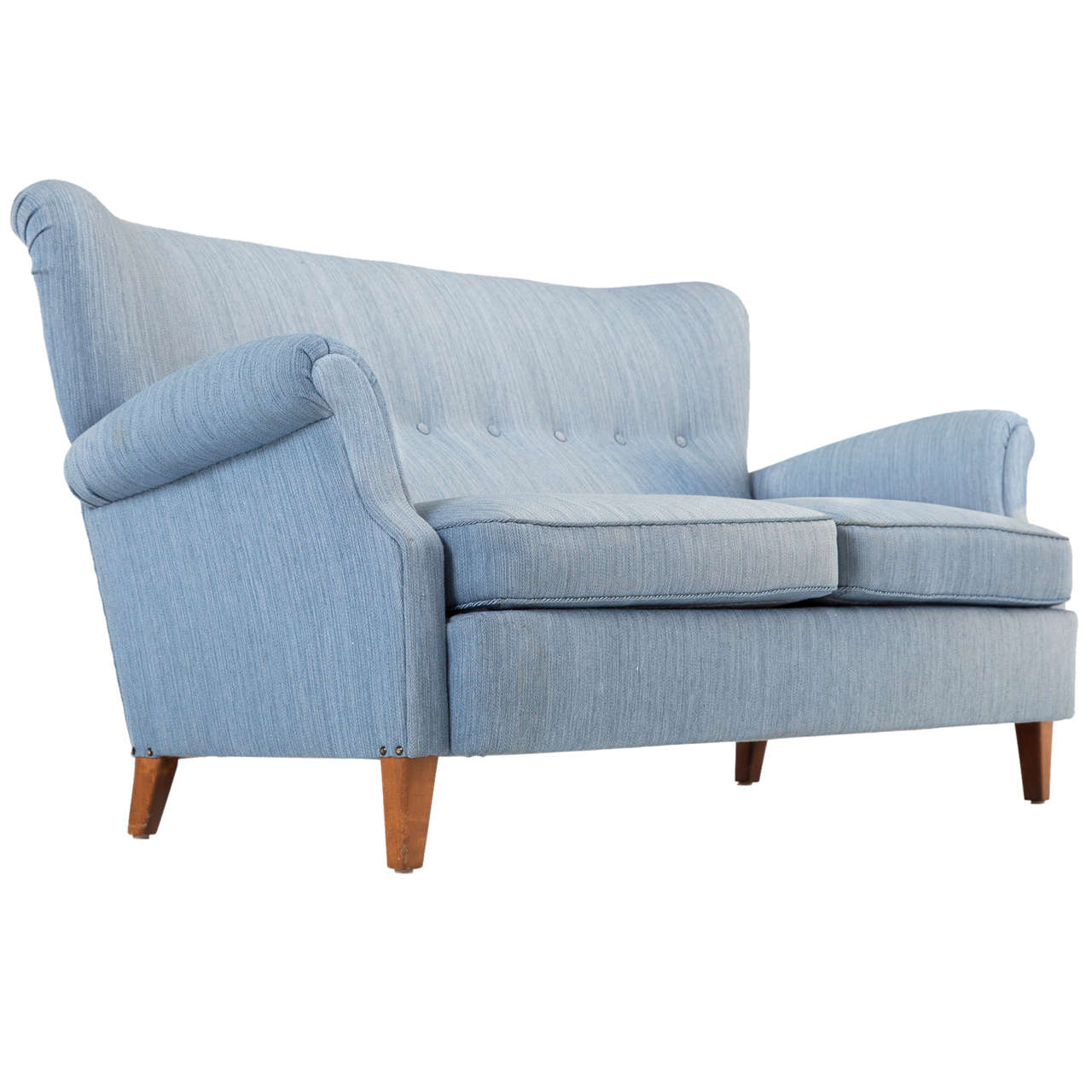 Swedish Blue Two-Seat Sofa, 1950s For Sale
