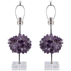 Pair of Amethyst Cluster Lamps