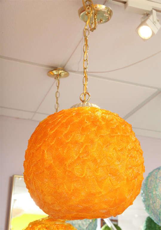 Mid-Century Modern Mid-Century, Large Light, Pendant, Vintage, Lucite, Tangerine, Restored For Sale