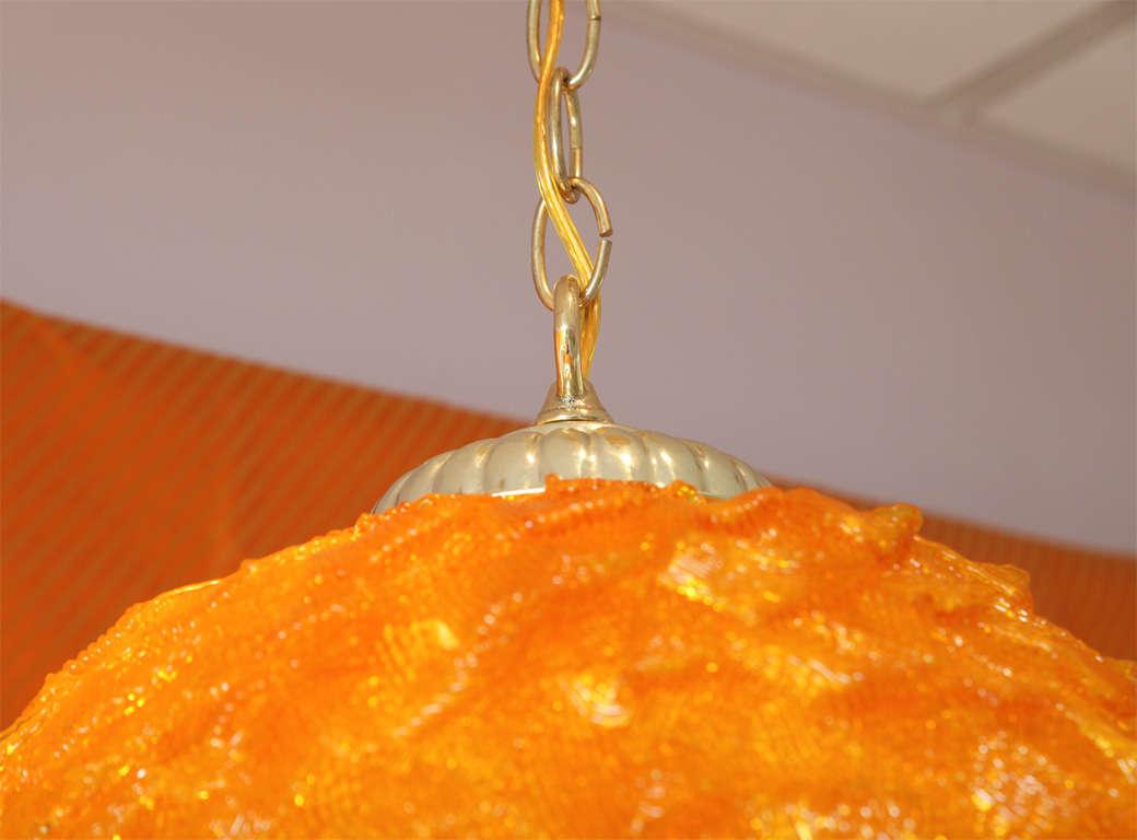 Mid-Century, Large Light, Pendant, Vintage, Lucite, Tangerine, Restored For Sale 1