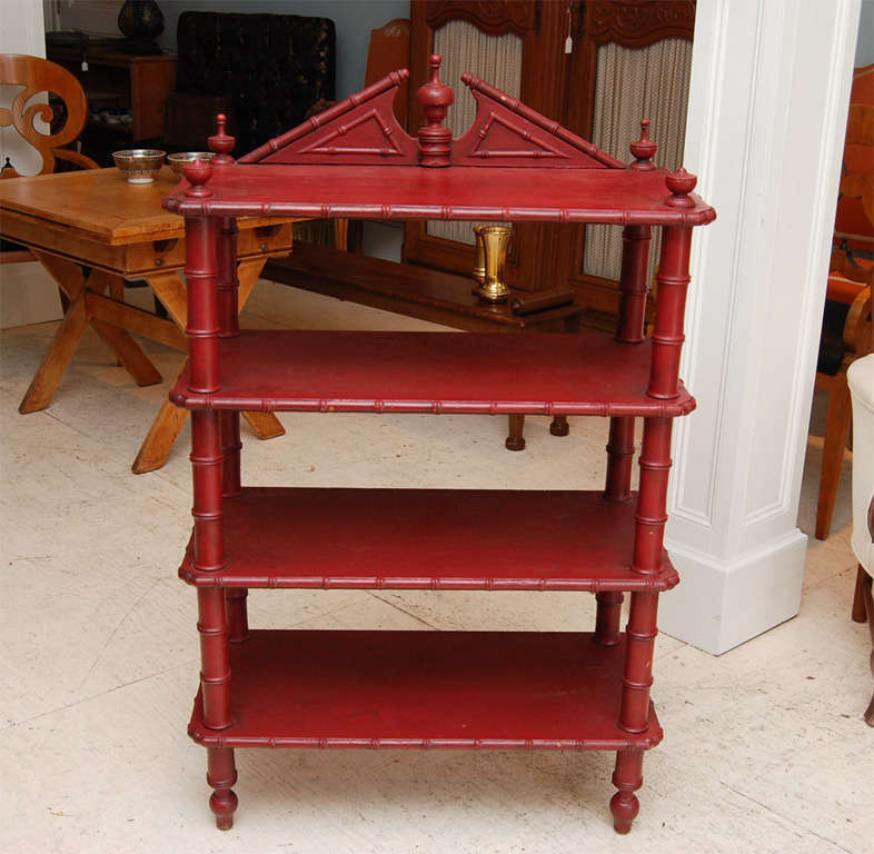 Charming red Victorian faux-bamboo three tier etagere