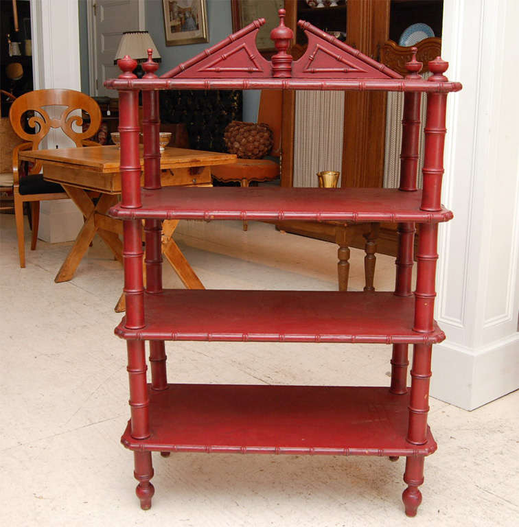 English Victorian Faux-Bamboo Three Tier Etagere For Sale