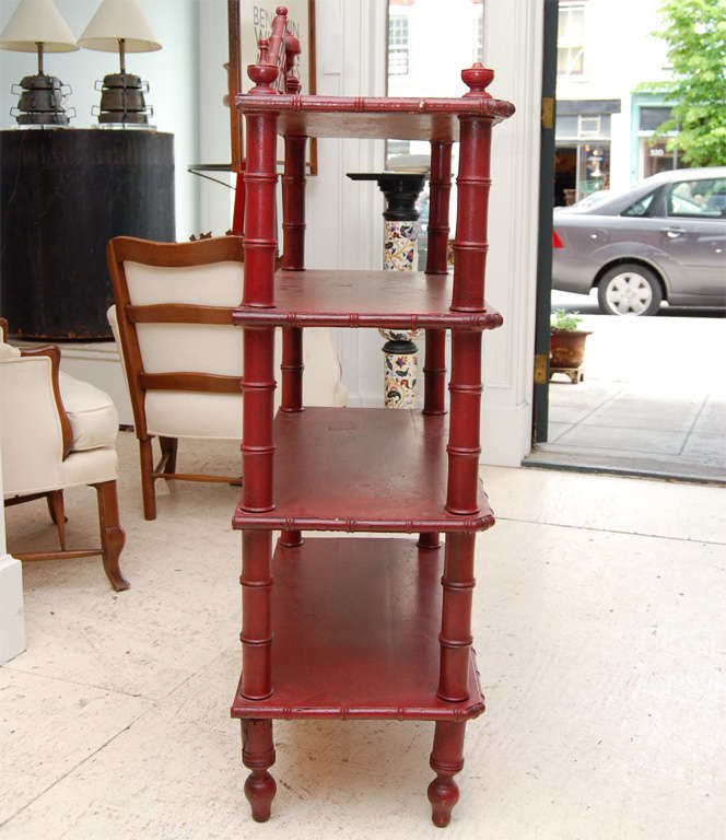 Victorian Faux-Bamboo Three Tier Etagere For Sale 3