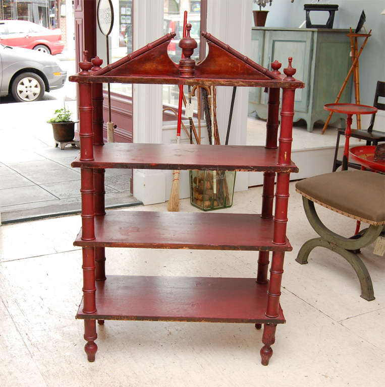 Victorian Faux-Bamboo Three Tier Etagere For Sale 4