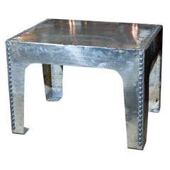 Wonderful English Polished Steel Tank Top Table