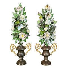 Pair of 19th C Italian Tole Altar Flowers in Urns