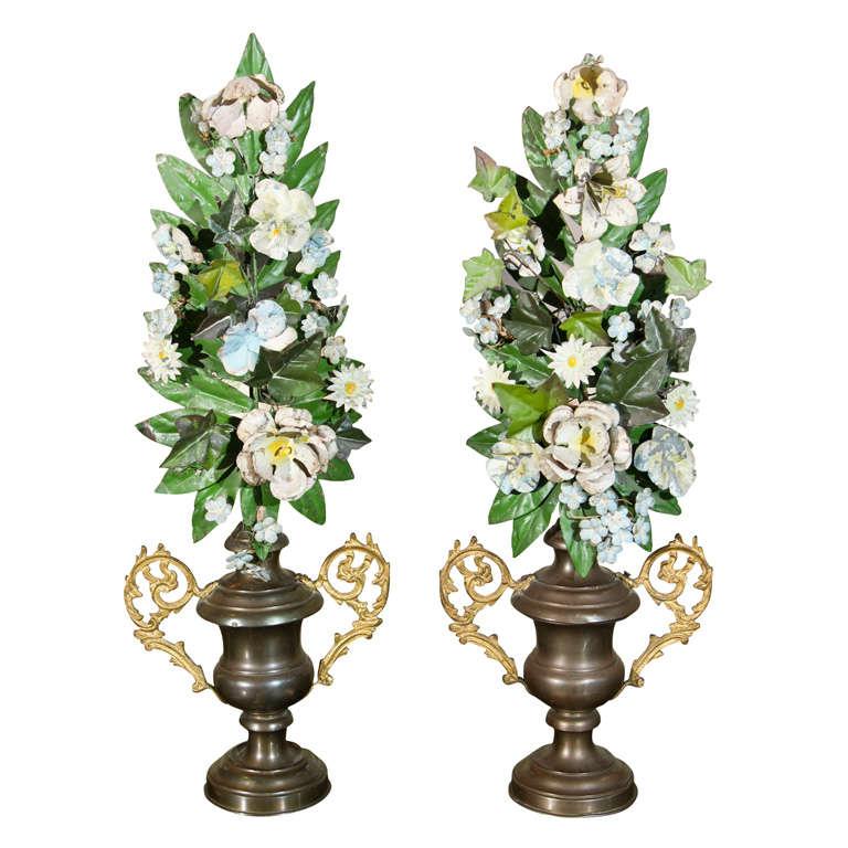 Pair of 19th C Italian Tole Altar Flowers in Urns