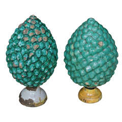 Pair of Green Glazed Pottery Pine Cone Finials