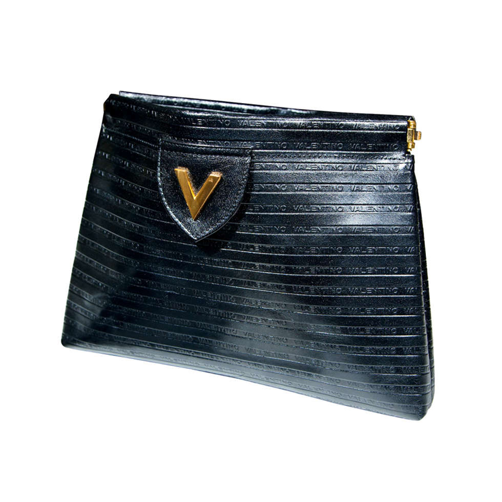 Valentino Textured Leather 'V' Logo Clutch* presented by funkyfinders 1