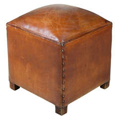 French Square Leather Poof/Ottoman