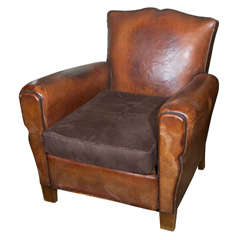 Small French Leather Club Chair