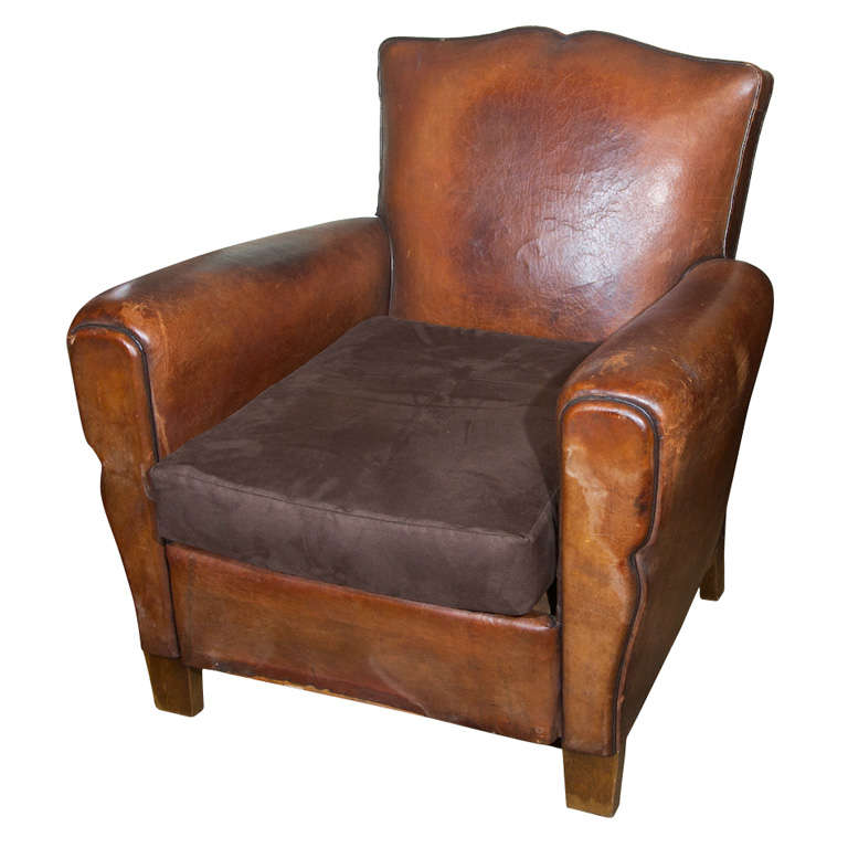 Small French Leather Club Chair at 1stdibs