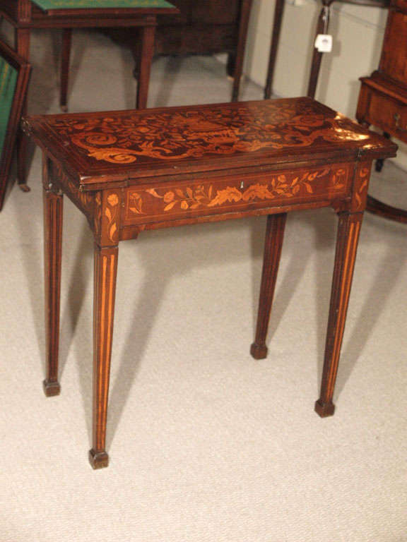 Antique Dutch Marquetry Walnut Fold Over Game Table. 2