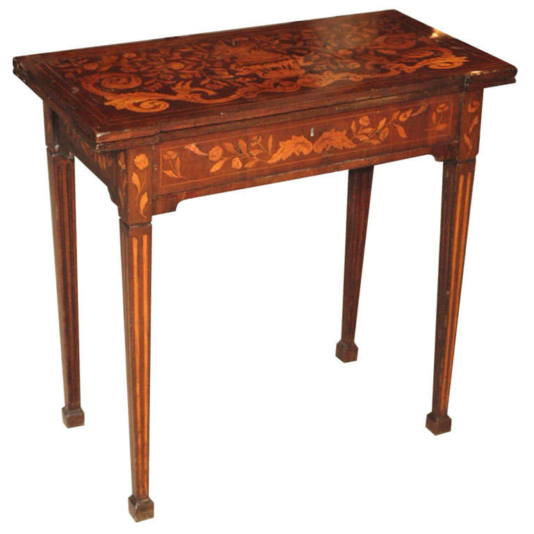 Antique Dutch marquetry walnut fold-over game table. at 1stdibs