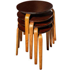 set of 4 Danish Stacking Stools
