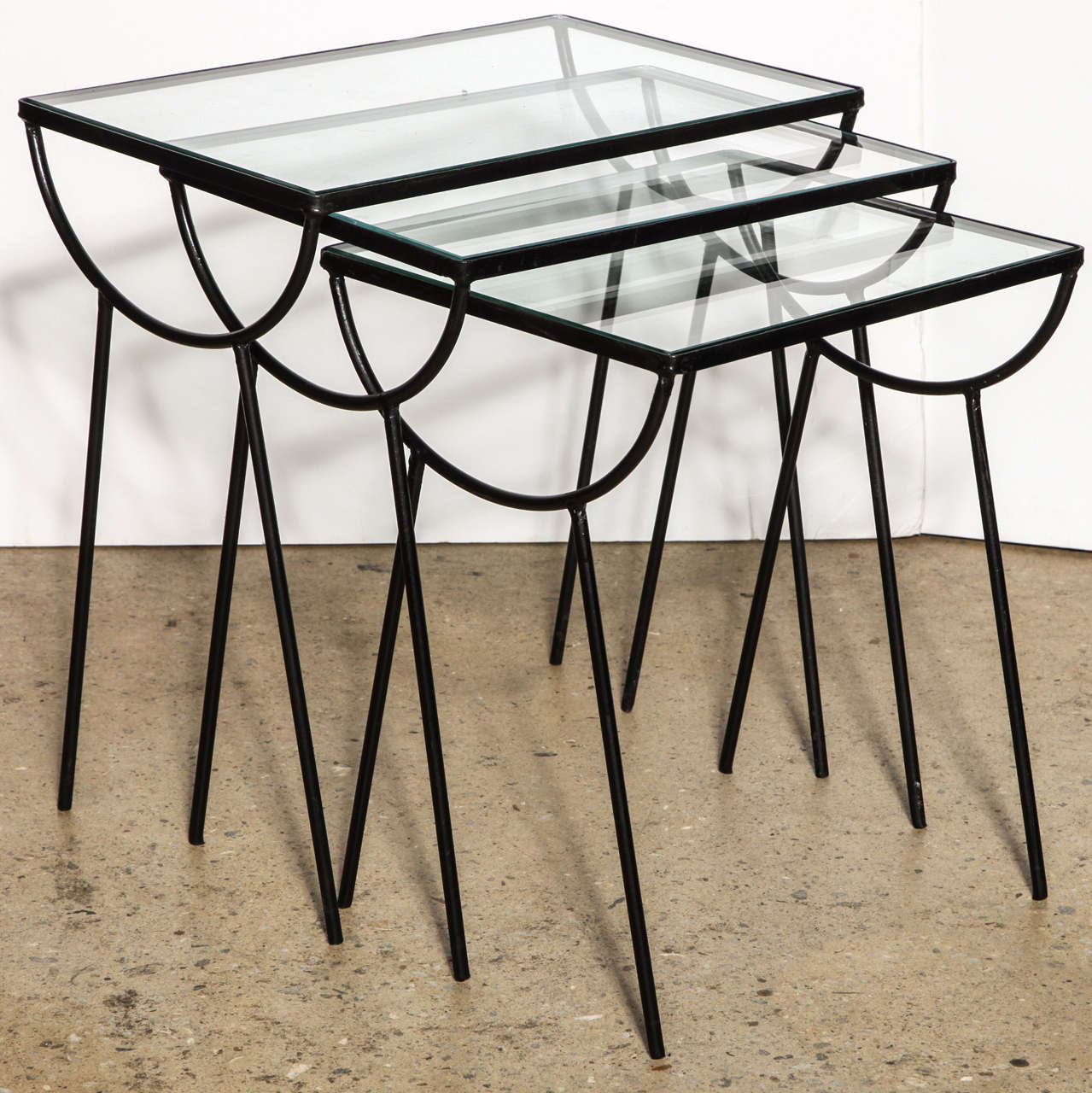 Set of three arbuck indoor outdoor nesting tables at stdibs