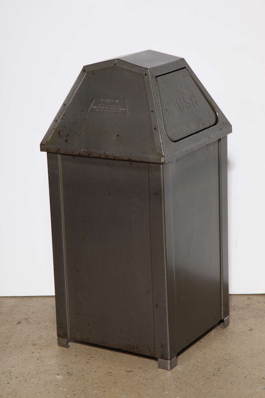Industrial Garbage Containers : Pair of mid century industrial mini quot push steel trash