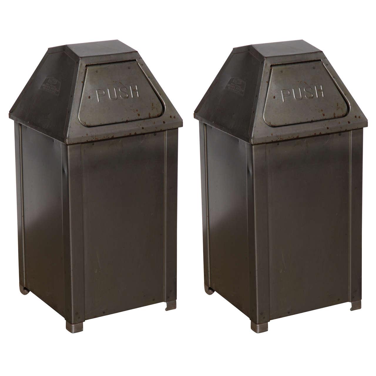 Pair Of Mid Century Mini Push Steel Trash Cans