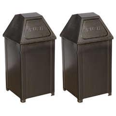 "Pair of Mid-Century Industrial Mini ""PUSH"" Steel Trash Cans"