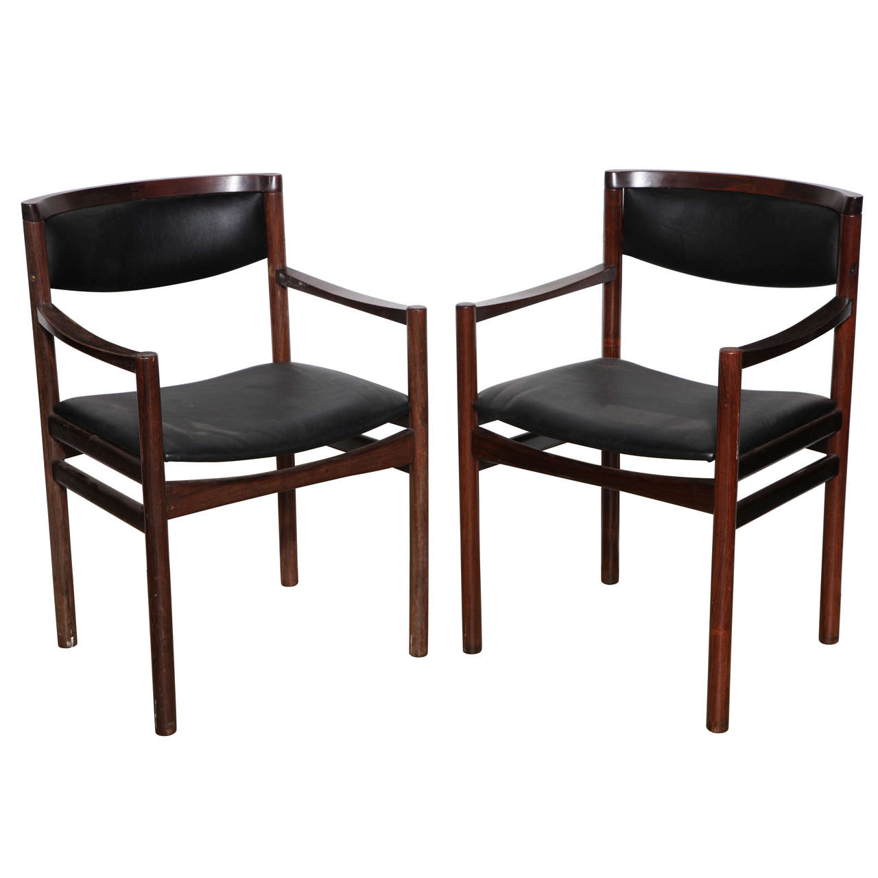 Pair Of S A X Soro Stolefabrik Danish Modern Rosewood Armchairs 1960s For
