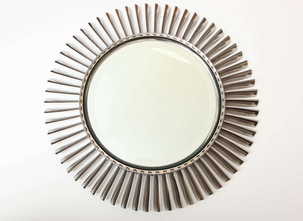 Large Fan Blades : Large mirror made of aluminum airplane fan blades at stdibs