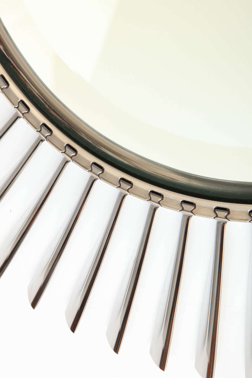 Airplane Fan Blades : Large mirror made of aluminum airplane fan blades at stdibs