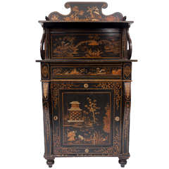 Regency Black and Gilt Lacquered Chiffonier