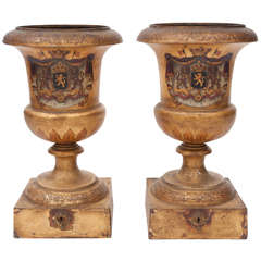 Important Pair of Tole Urns with Original Royal Crests Decoration