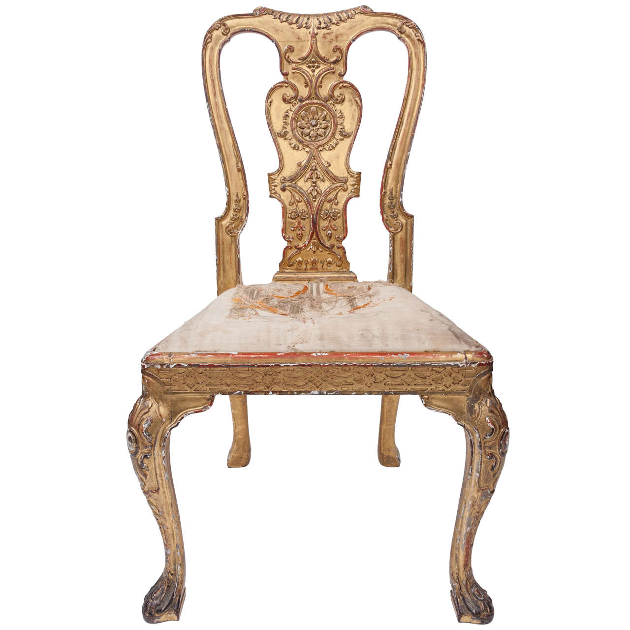 George I Style Gilt Wood and Gesso Side Chair