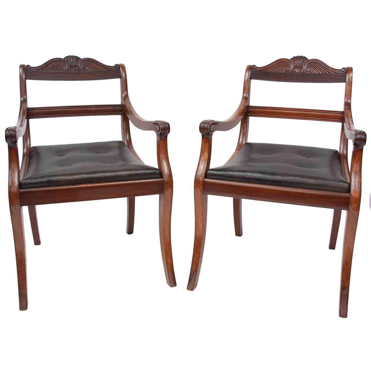 Early 19th Century Pair of Mahogany Open Armchairs