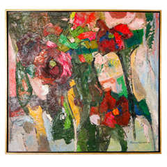 Early 20th Century Bright Abstract Painting in Gilded Frame