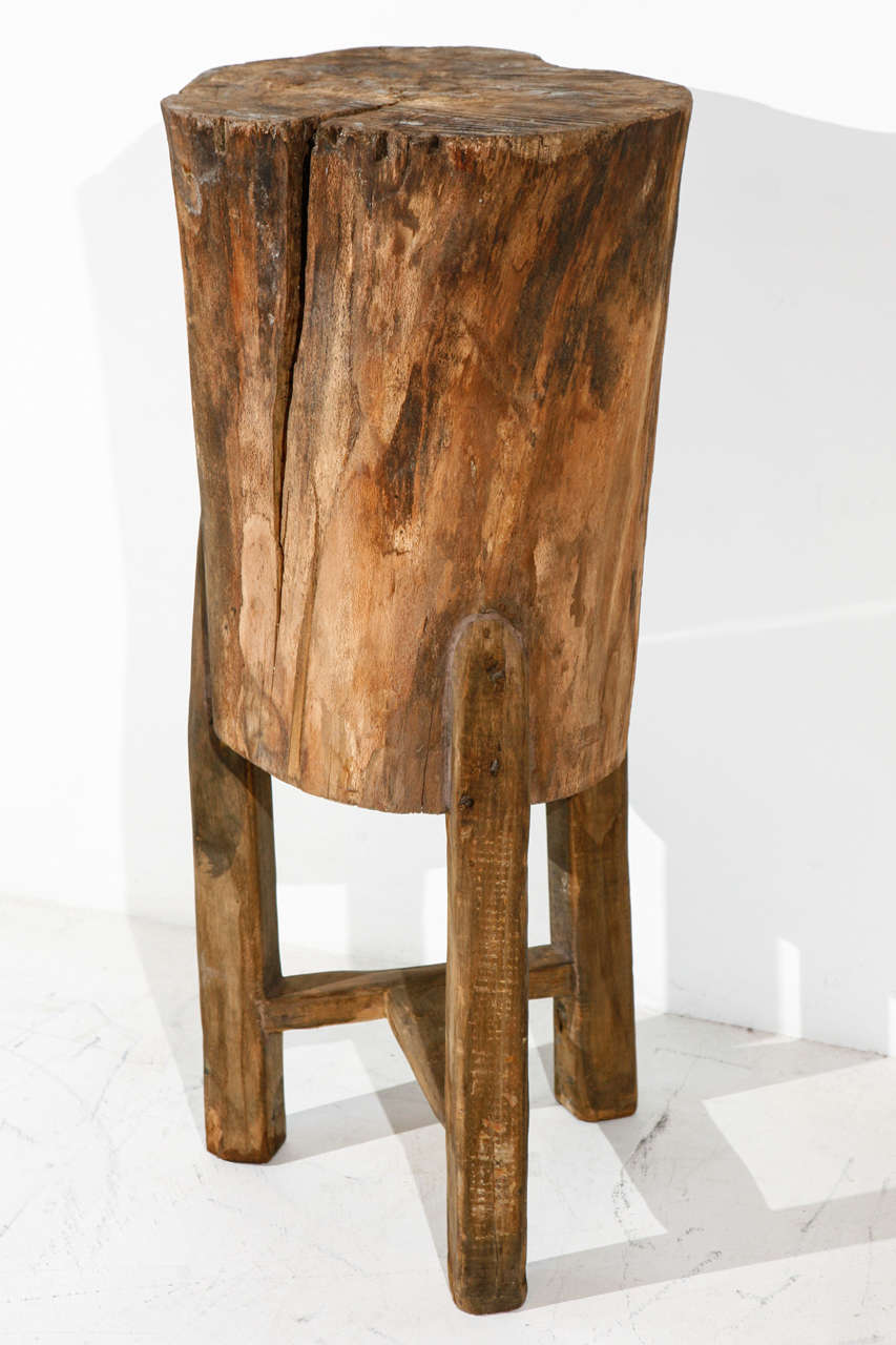 tall rustic italian tree stump pedestal side table 2
