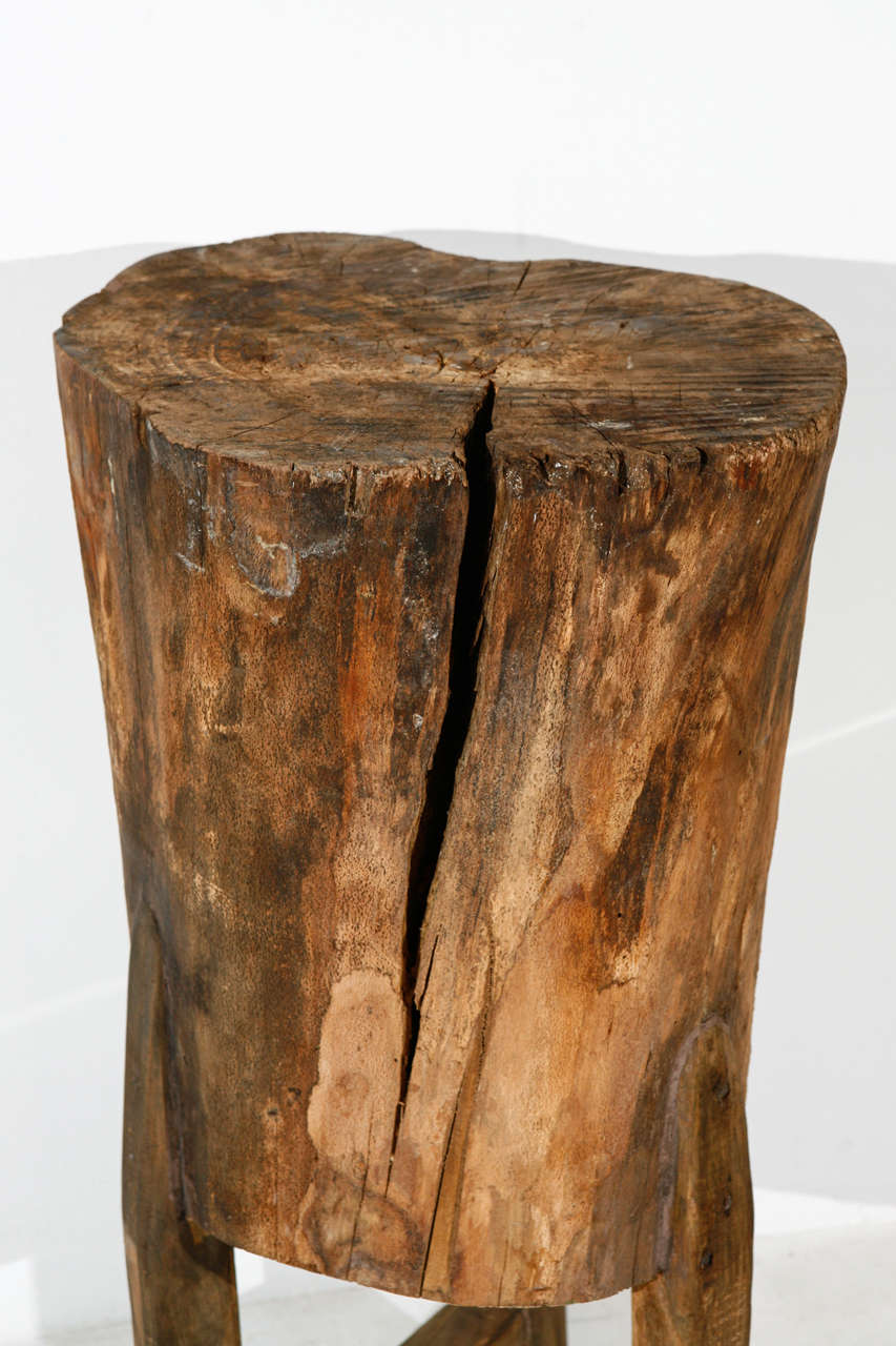 Tall Rustic Italian Tree Stump Pedestal Side Table At 1stdibs