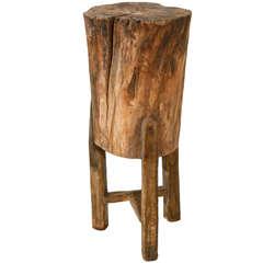 Tall Rustic Italian Tree Stump Pedestal Side Table
