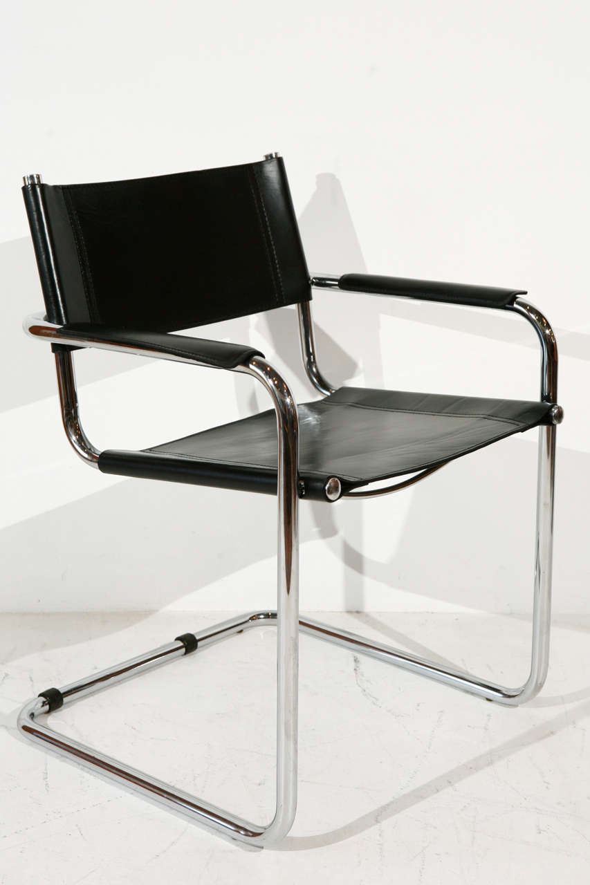 Mid Century Modern Set Of Six Steel Cantilever Dining Chairs In The Style Mart