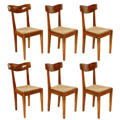 Set of Six Italian Olive Wood and Rush Dining Chairs